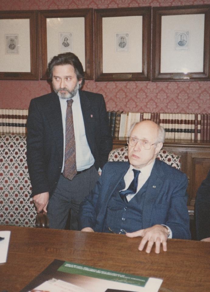 В Академії Санта-Чечилія в Римі. З Мстиславом Ростроповичем. 1990-ті роки